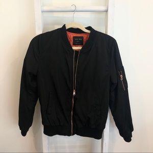 Black Bomber Jacket - Rose Gold Zippers